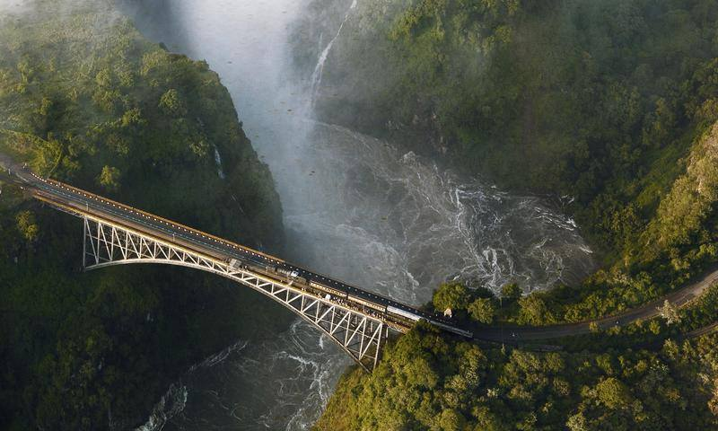 Aerial view of Victoria Falls Bridge