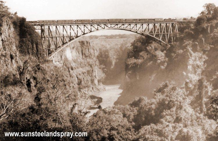 The completed Victoria Falls Bridge betweeen Zimbabwe and Zambia