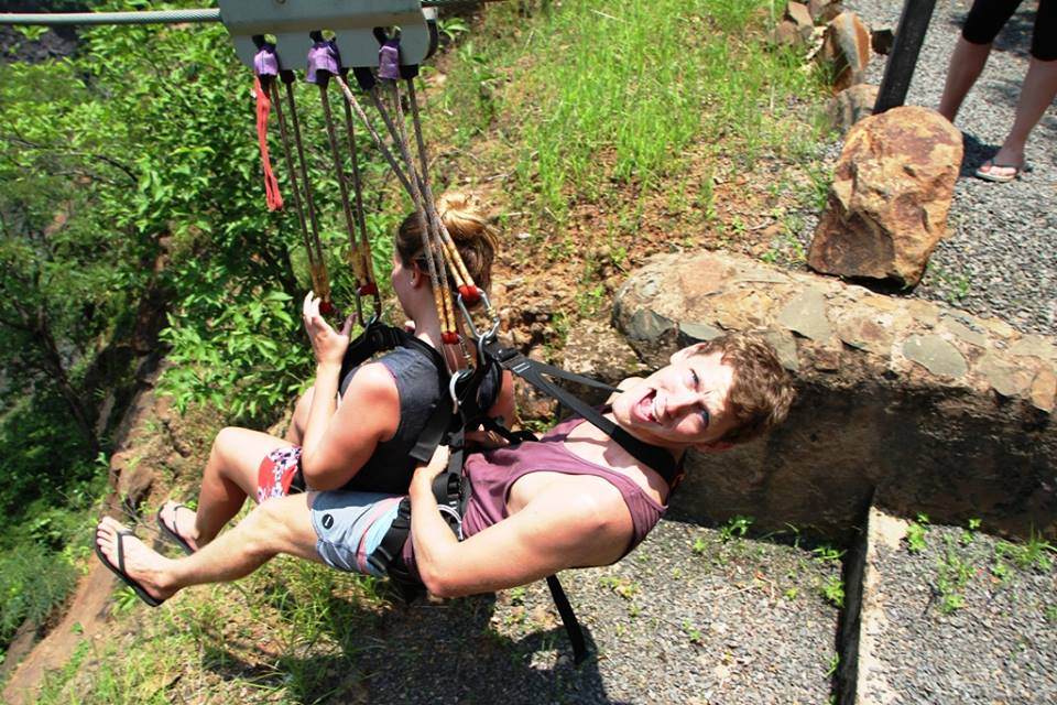 Tandem slide across the Batoka Gorge to the Victoria Falls Bridge