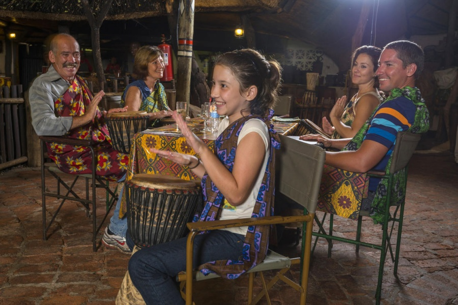 Interactive djembe drums played at The Boma in Victoria Falls, Zimbabwe