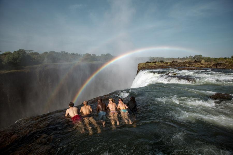 Devils pool swim on the edge of the Victoria Falls, Zambezi River
