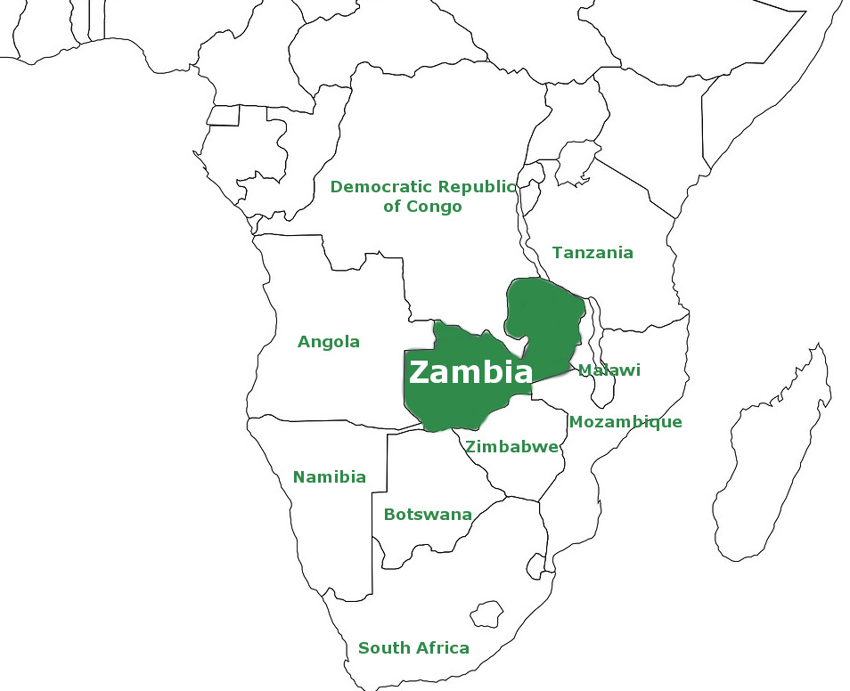 The position of Zambia on the African map