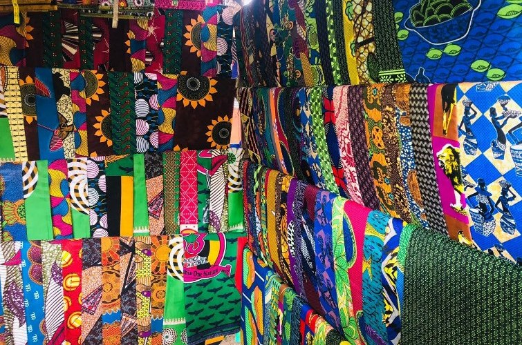 Colourful traditional materials at Maramba Market, Livingstone town, Zambia