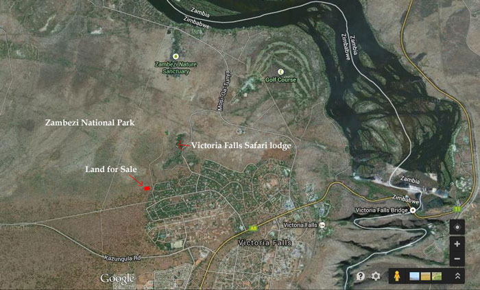 Map showing land for sale in Victoria Falls -Zimbabwe