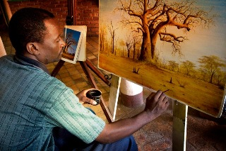 Lewes, artist in Victoria Falls