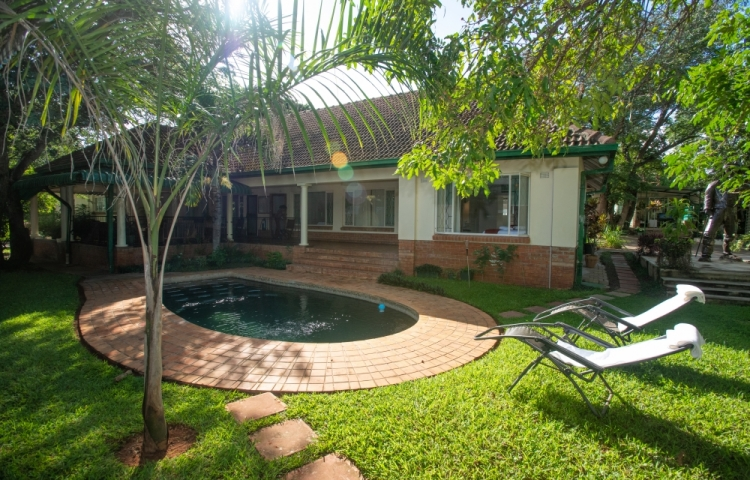 Lucious green garden and sparkling pool