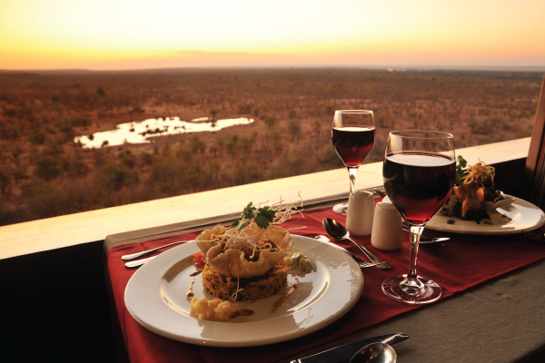 Fine dining with a view at Makuwa-kuwa Restaurant in Victoria Falls, Zimbabwe