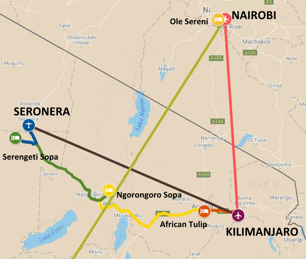 Map of the northern section of the safari itinerary from the serengeti and wildebeast migration to Victoria Falls