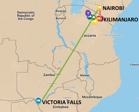 Map of safari itinerary from the serengeti and wildebeast migration to Victoria Falls