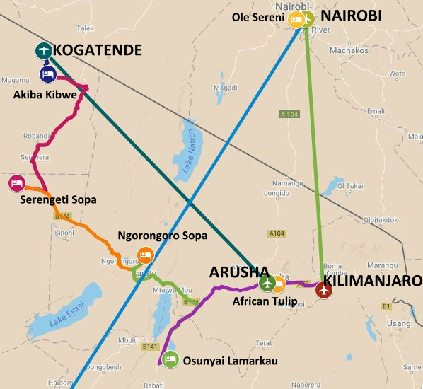 Map of the Tanzania section of the safari itinerary from the serengeti and wildebeast migration to Victoria Falls