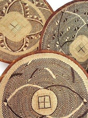 Woven baskets made by the Tonga people of Zambia