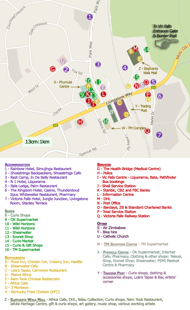 Map of the town centre of Victoria Falls, Zimbabwe