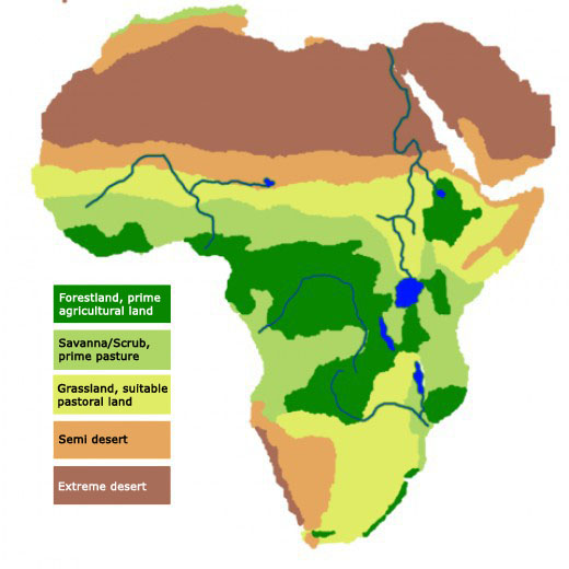 savannah grasslands africa map