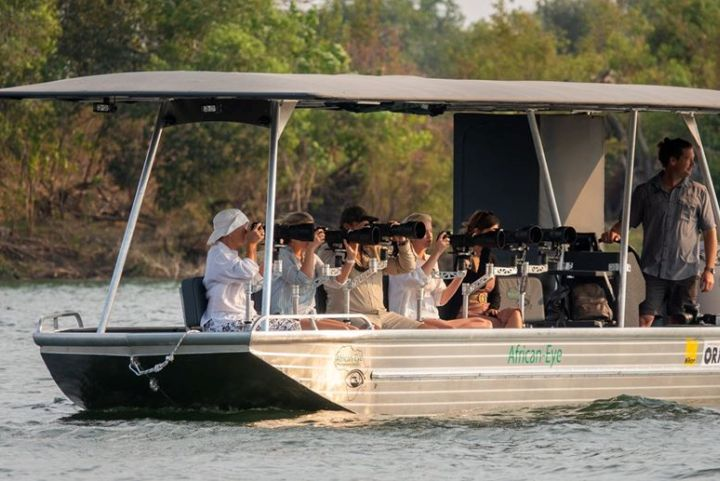 Specially equipped boat for a phorographic river safari in Victoria Falls, Zimbabwe