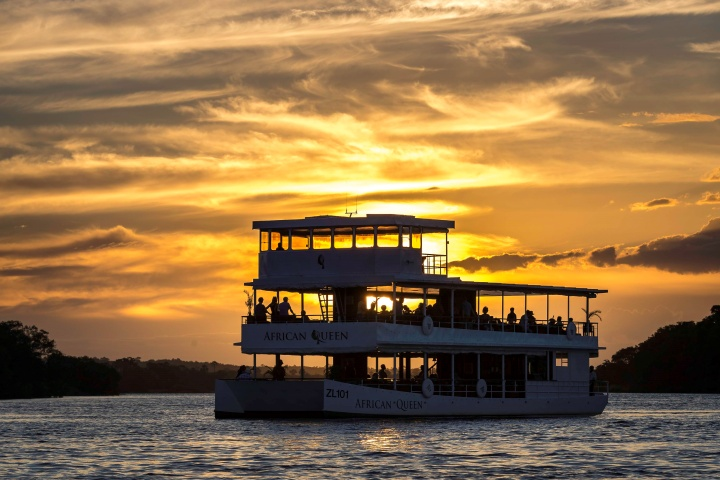 The African Queen at sunset on the Zambezi River. Zambia.