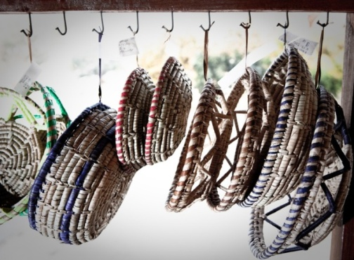 Woven baskets on sale in Livingstone, Zambia