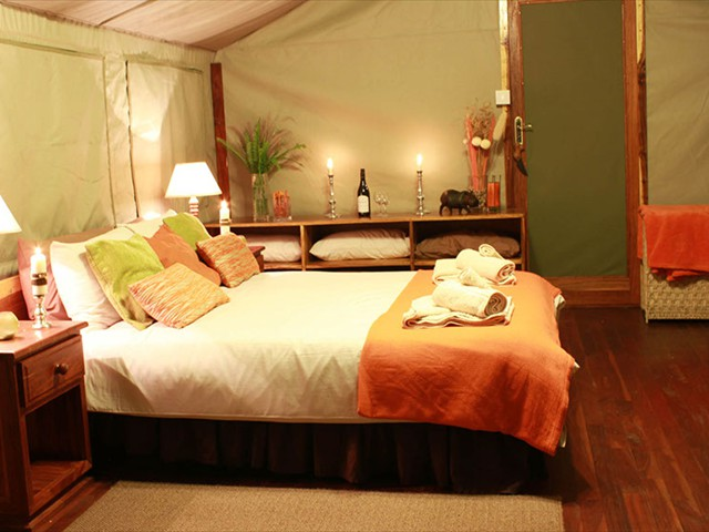 Inside tented room at Bomani Tented Lodge - Hwange National Park, Zimbabwe
