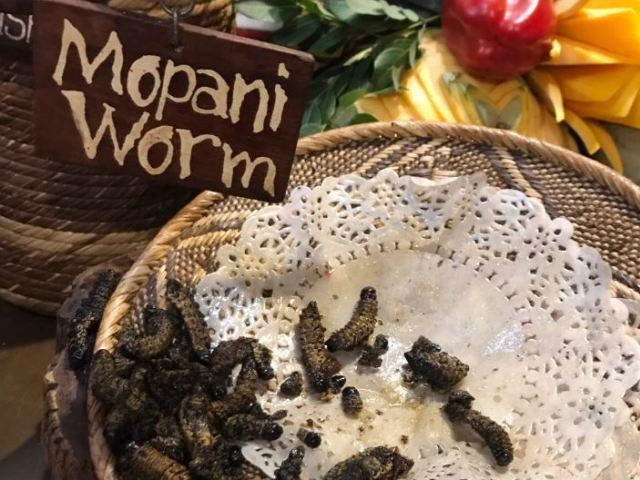 Mopani worms are a must at The Boma, Victoria Falls, Zimbabwe