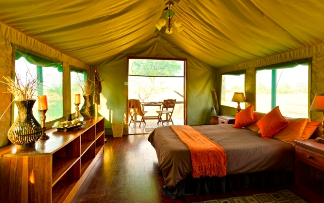 Inside the Hornbill Tent at Bomani Tented Lodge - Hwange National Park, Zimbabwe