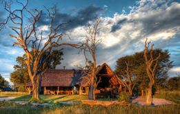The sun setting at Bomani Tented Lodge - Hwange accommodation