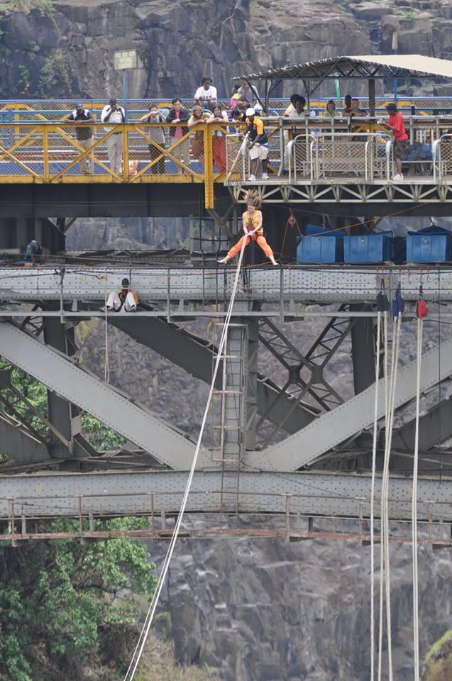 Solo bridge swing off the Victoria Falls Bridge
