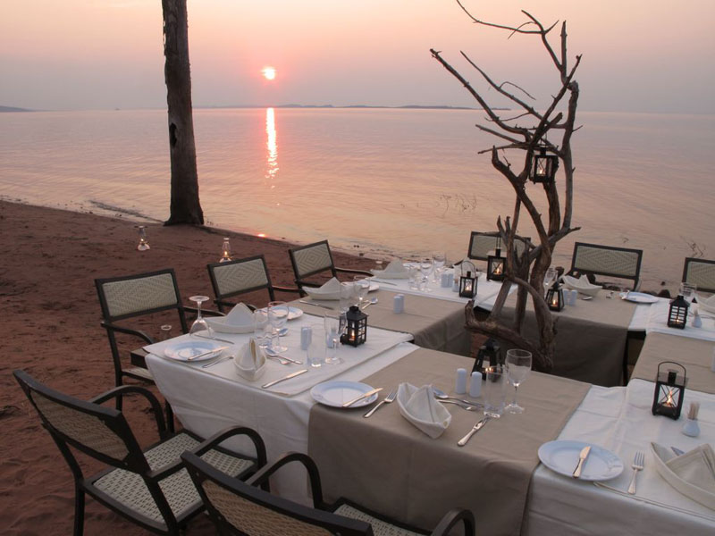Lake shore dinner by Bumi Hills in Kariba