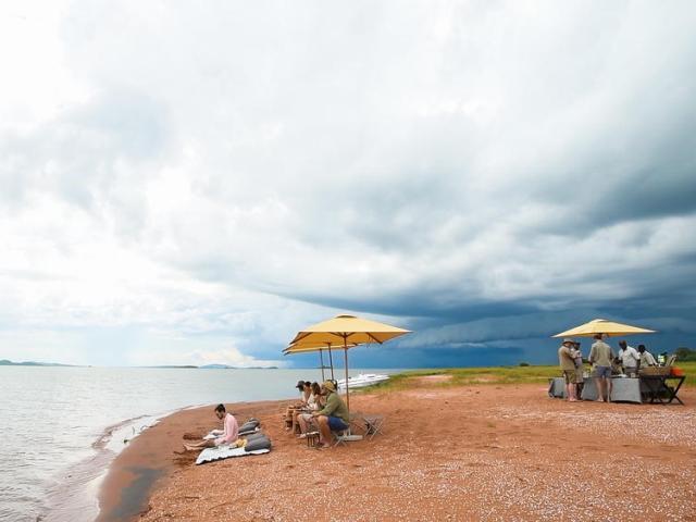 Taking a break from safari activities on Starvation Island, Lake Kariba