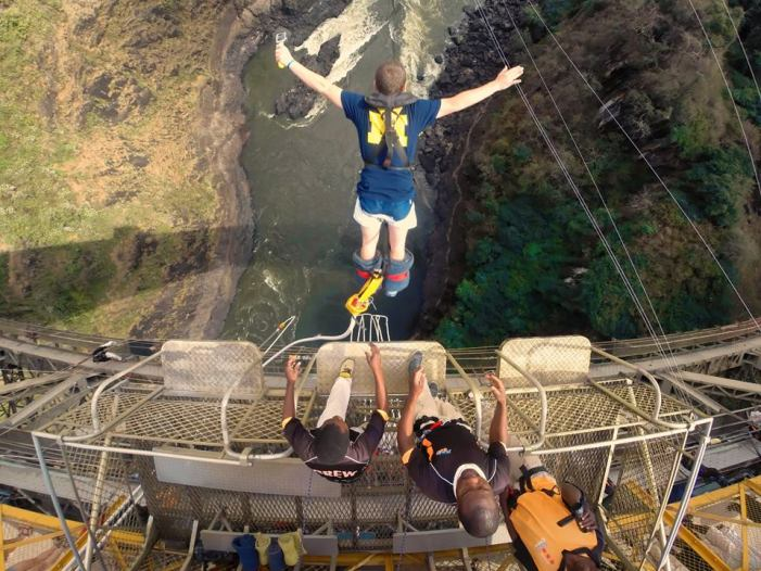 View from the top - Bungee jumping off the Victoria Falls Bridge between Zimbabwe and Zambia