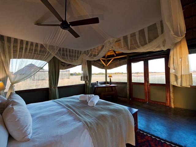 Inside a cool safari room at Camp Hwange - Hwange National Park, Zimbabwe