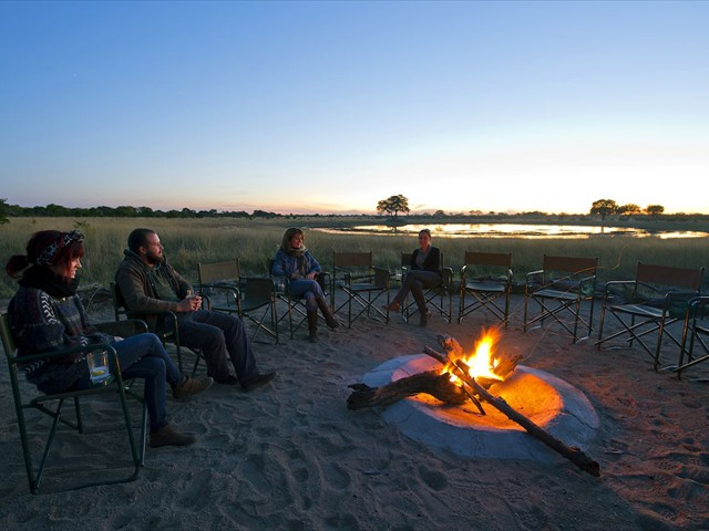 Camp fire over sundowners
