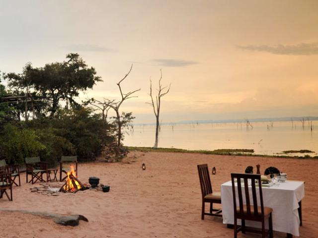 Beach dinner by Lake Kariba with Changa Safari Camp
