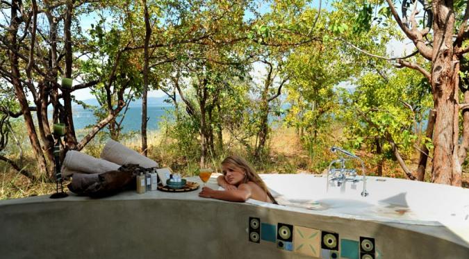 Bush bath with a view at Changa Safari Camp, Lake Kariba