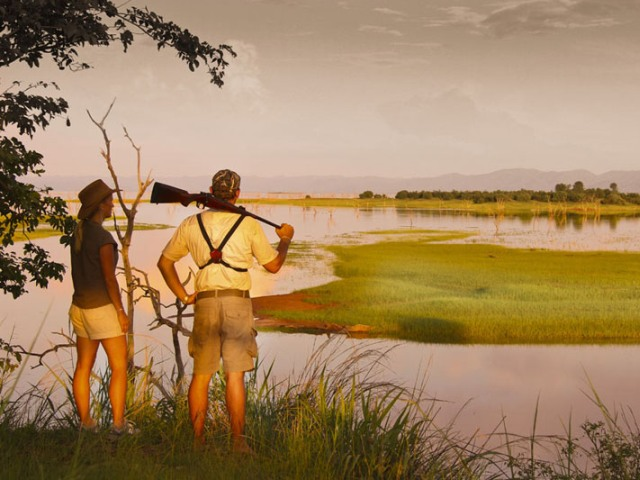 Walking safaris in Matusadona National Park along Lake Kariba, Zimbabwe