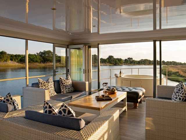 Lounging on the Chobe Princess between Botswana and Namibia- luxury houseboat on the Chobe River