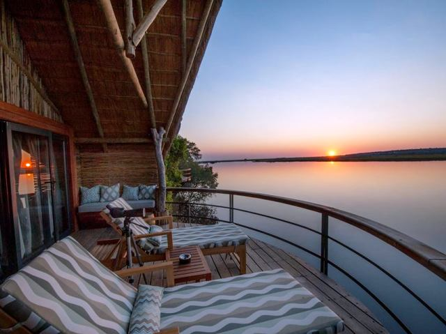 Sunset at Chobe Water Villas along the Chobe River - Namibia, Botswana