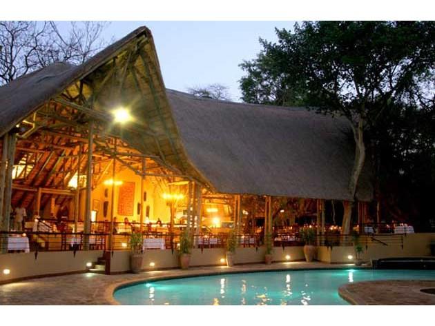 Spacious open air dining area at Chobe Safari Lodge in Botswana