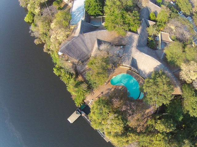 Aerial view of Chobe Safari Lodge right by the Chobe River