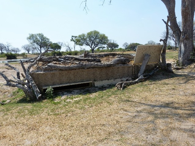 Outside an underground hide in Hwange National Park, Zimbabwe