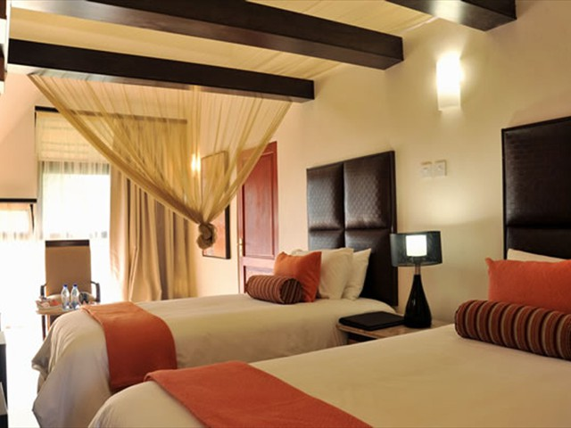 A twin room at Cresta Mowana Hotel in Kasane, Botswana