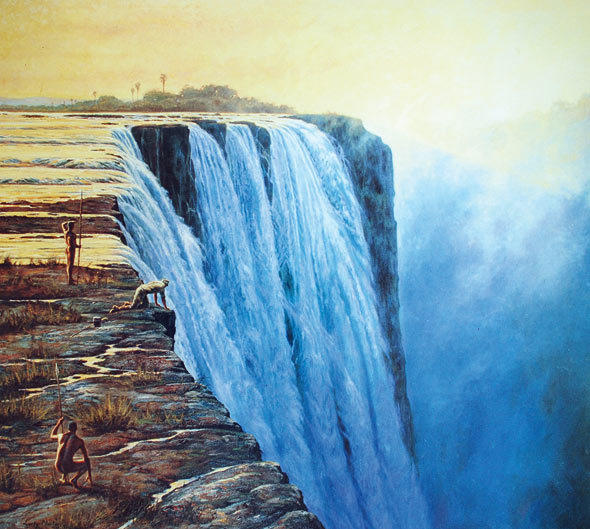 A depiction of David Livingstone's first sight of the Victoria Falls while on present-day Livingstone Island