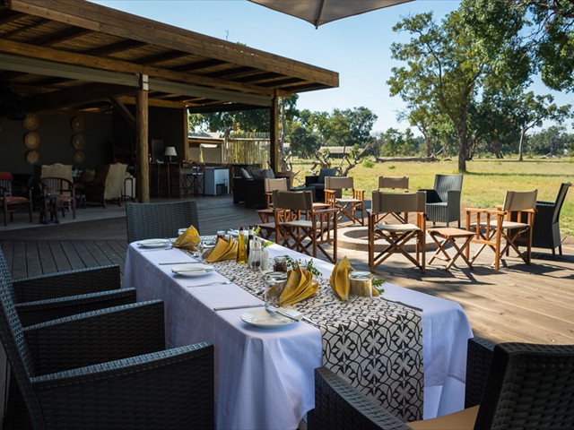 ...a dining area under the trees or lodge cover