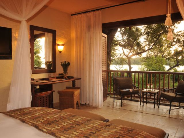 David Livingstone Safari Lodge on the Zambian side of the Victoria Falls waterfall and the Zambezi River.
