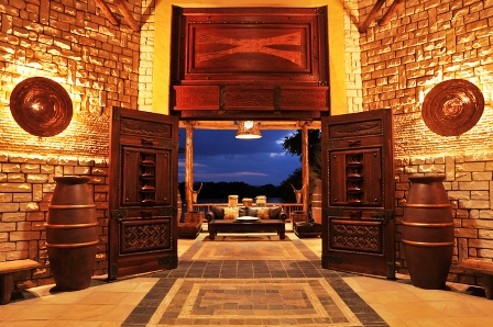 The entrance at David Livingstone Safari Lodge and Spa