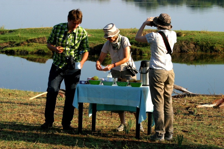 Breakfast by the Zambezi River while on safari near Victoria Falls Zimbabwe