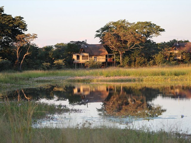 View of the lodge from the water hole