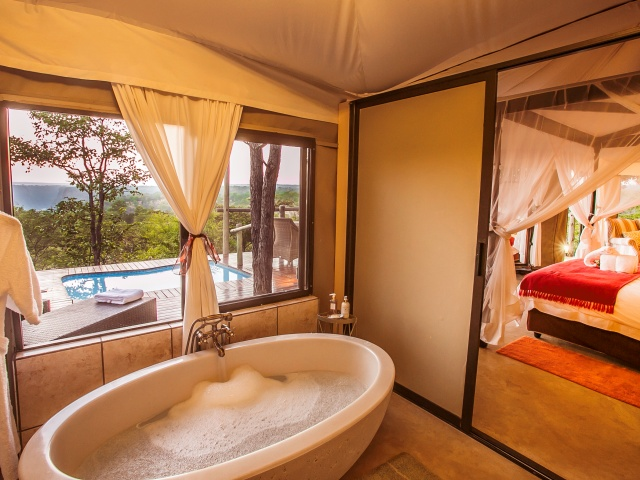 Luxurious bath and suite at Elephant Camp West - Victoria Falls accommodation