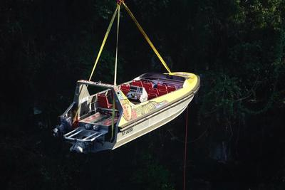 New jetboat being lowered into the gorge