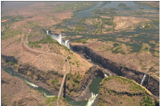Aerial view of the Victoria Falls in low water season
