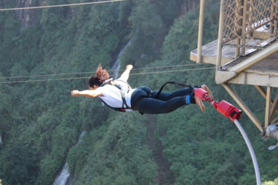 Bungee jumping off the Victoria Falls Bridge down the Zambezi River gorge