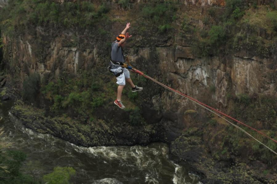 The gorge swing - super adrenaline rush in Victoria Falls, Zimbabwe